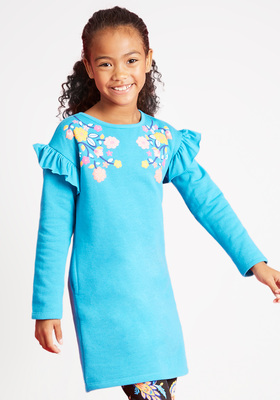 Ruffle Sleeve Sweatshirt Dress