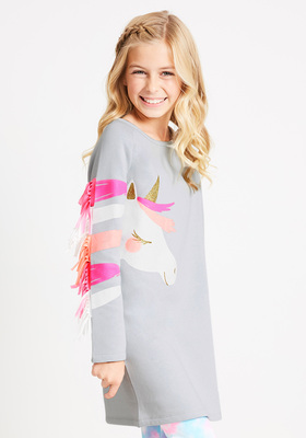 Unicorn 3D Mane Sweatshirt Dress