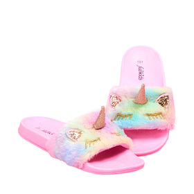 Rainbow Unicorn Fur Slide