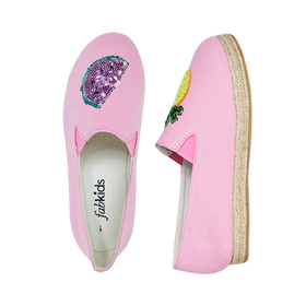 FabKids Shoes Fruit Icon Espadrille Girls Pink Size 10 Let your personality shine with these fun fruit espadrilles! With sequin patches of her favorite fruits, these are sure to be a warm weather hit!