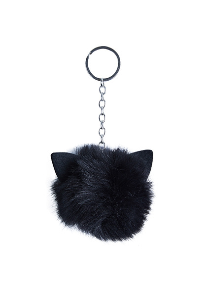 Pom Pom Cat Keychain