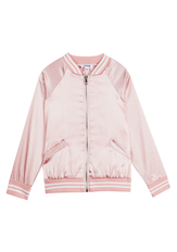 Faux Satin Bomber