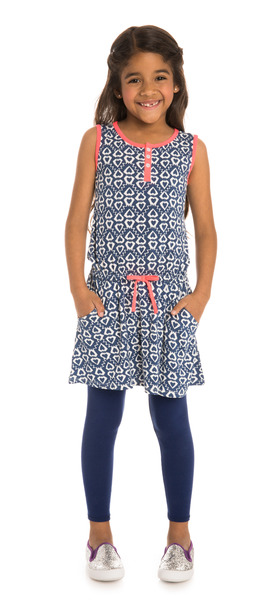 Navy Ikat Heart Outfit
