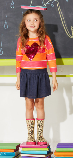 Denim Heart School Outfit