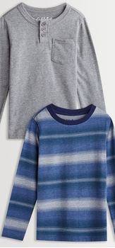 Blue Stripe Henley Tee Pack