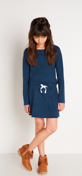 Indigo Knit Dress Outfit