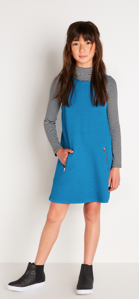 Blue Quilted Dress Outfit
