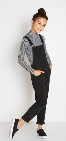 Denim Overall + Mock Neck Outfit
