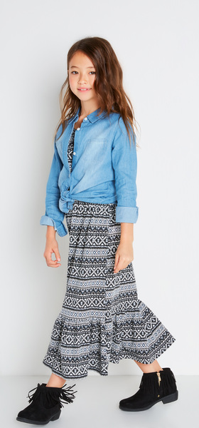 Chambray Tribal Maxi Dress Outfit
