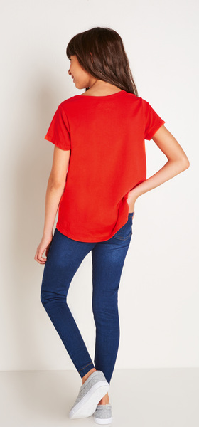 Red Sequin Pocket Tee Outfit