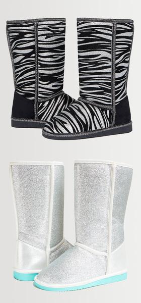 Glitter Zebra Fuzzy Shoe Pack