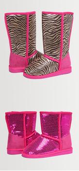 Pink Zebra Fuzzy Shoe Pack
