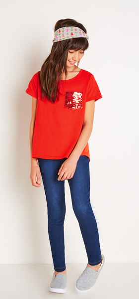 The Red Sequin Pocket Tee Outfit
