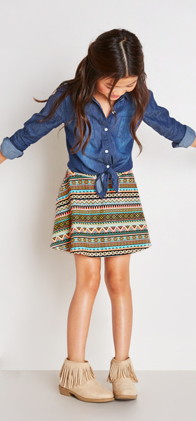 Chambray Boho Skirt Outfit