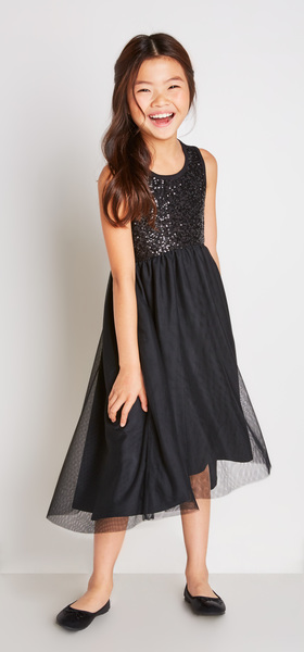 Black Sequin Tulle Dress Outfit