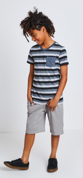 d331728aacd95 Striped Pocket V-Neck Outfit - FabKids