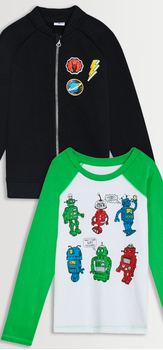 Patch Bomber & Robot Tee Pack