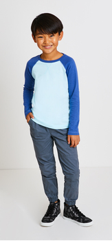 Blue Raglan Jogger Outfit