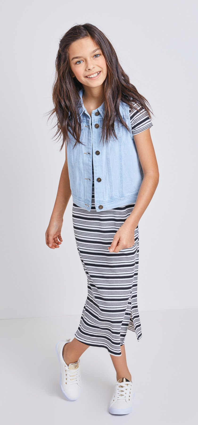 Striped Midi Dress Vest Outfit - FabKids