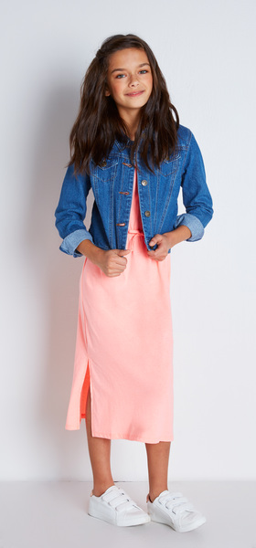 Denim Jacket Midi Dress Outfit - FabKids