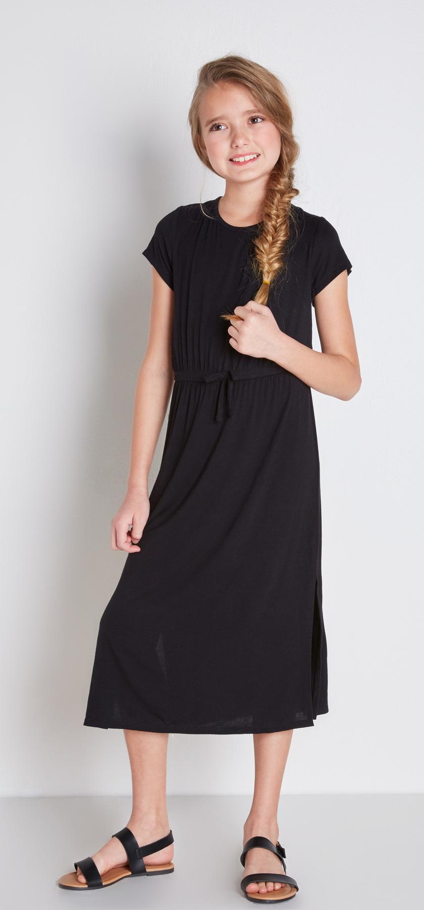 Black midi t shirt dress outfit fabkids for Midi shirt dress black