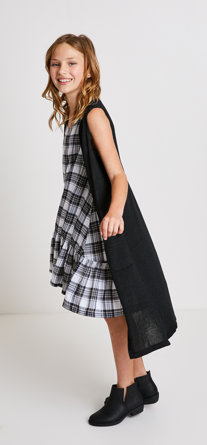 Plaid Dress Sweater Vest Outfit - FabKids