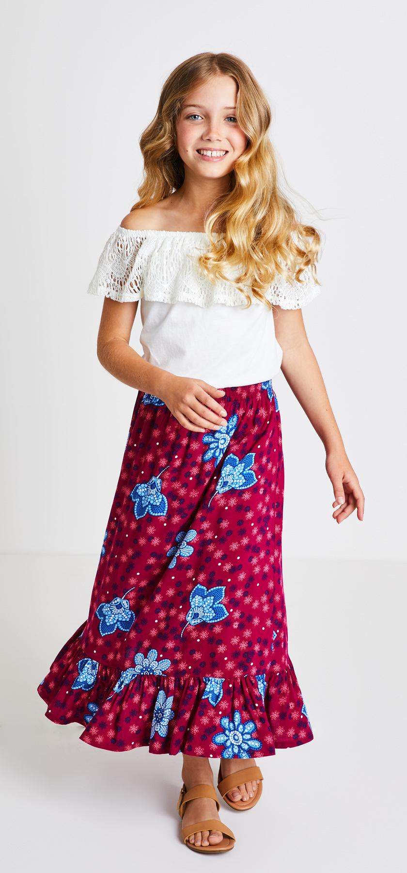 Lace Ruffle Top Maxi Skirt Outfit - FabKids