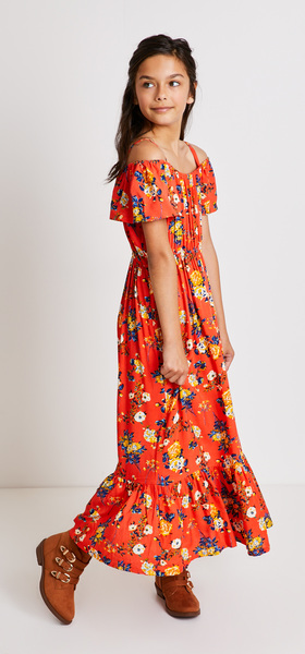 30f35b0fe0 Floral Ruffle Maxi Dress Outfit - FabKids