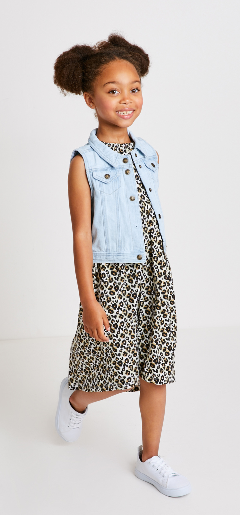 Denim Vest Leopard Dress Outfit - FabKids