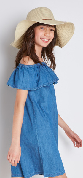 98c1f95bac5b59 Chambray Dress Floppy Hat Outfit - FabKids