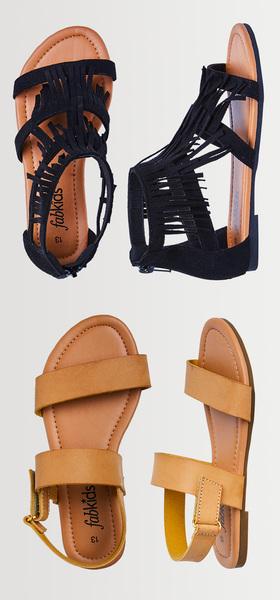 cea4bd22d465 Black Fringe Two-Strap Sandal Pack - FabKids
