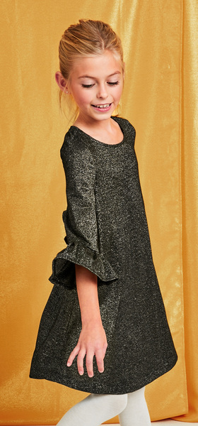 Bell Sleeve Shimmer Dress Outfit
