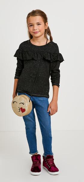 The Metallic Ruffle Denim Outfit