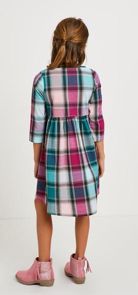Hi-Low Plaid Dress Outfit