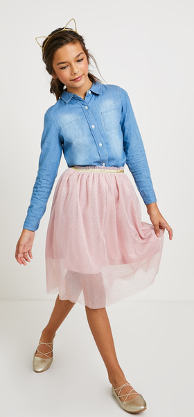 Chambray Pink Tutu Skirt Outfit