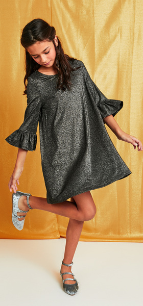 Shimmer Bell Sleeve Dress Outfit
