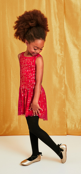 Dot Tulle Red Dress Outfit