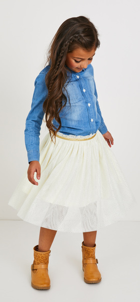 Chambray Gold Shimmer Tulle Skirt Outfit