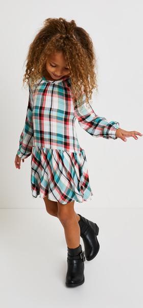 Plaid Drop Waist Dress Outfit