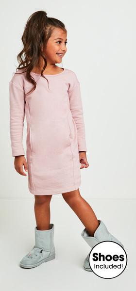 03b935d32c Pink Sweatshirt Dress Outfit - FabKids