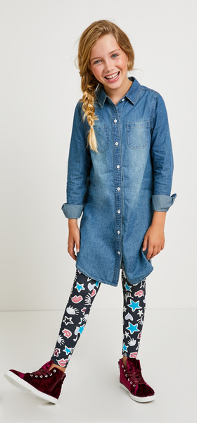 Hi-Low Chambray Doodle Dress Outfit
