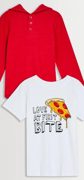 Textured Hoodie & Pizza Tee Pack