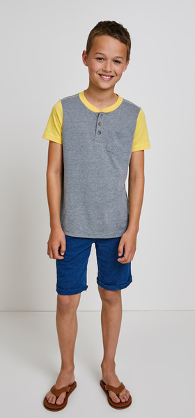 Yellow Colorblock Henley Outfit