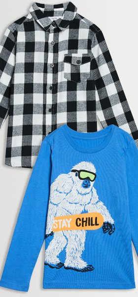 Flannel Stay Chill Tee Pack