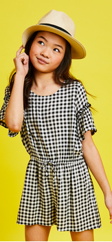 Gingham Romper Hat Outfit