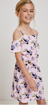 Toucan Print Dress Hat Outfit
