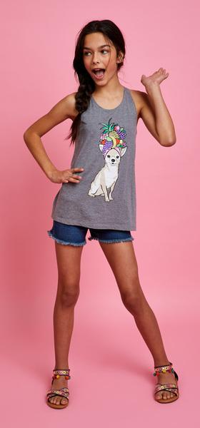 Pineapple Dog Denim Short Outfit