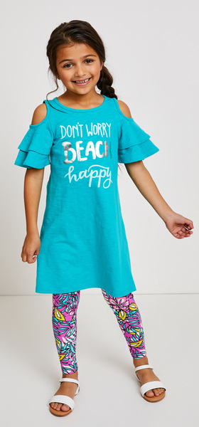 08839d3b Beach Happy Dress Legging Outfit - FabKids