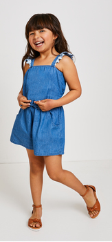 Ruffle Chambray Romper Outfit