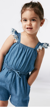 The Ruffle Chambray Romper Outfit